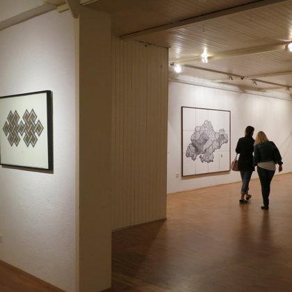 Ausstellungsansicht, Webarten; Neue Galerie Dachau, 2015